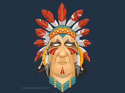 Red illustation native american red indian