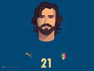 Pirlo italy intermilan ac milan juventus characterdesign soccer illustartion pirlo