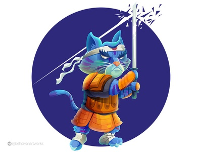 Samurai cat samurai war japan illustartion warrior
