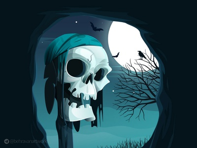 Skeleton characterdesign night illustartion skeleton