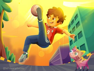 In Sky street cat boy illustartion football