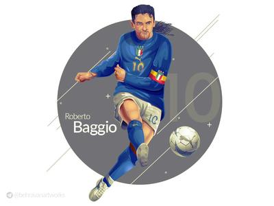 Roberto Baggio italia roberto baggio soccer football design charachter design illustration