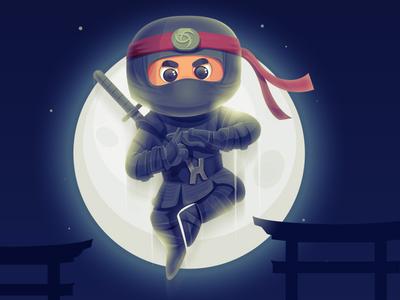 Ninja ninja vector ronin samurai sword japan warrior charachter design illustration
