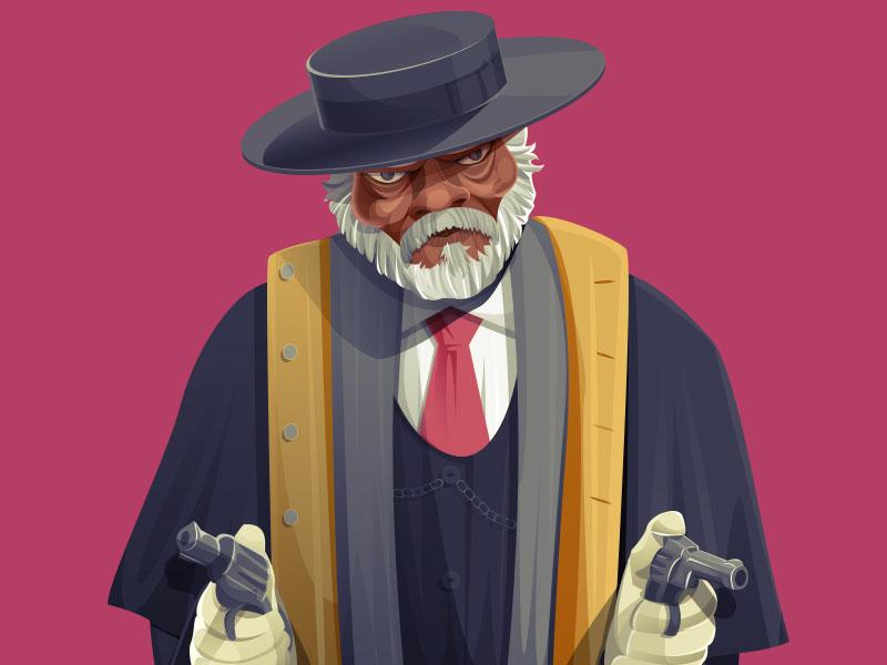 Major Marquis Warren movie cinema samuel l jackson major marquis warren character design illustration