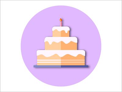 Birthday Cake fun flame light candle paper like shadow circle pink purple flat party birthday cake celebration vector branding design illustration icon logo graphic design