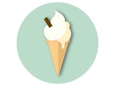 Ice Cream Cone paper like ice frozen summer cream warm melting cone ice cream branding vector logo illustration icon graphic design flat design circle