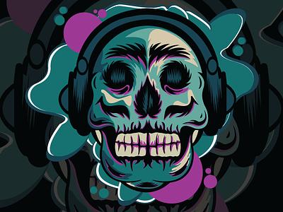 SKULL _ HEADPHONE lineart artwork animation music musician design branding skull logo skull skull art art illustration