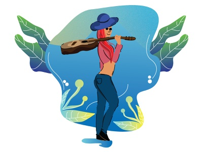 GUITARIS GIRL design 3d illustration il art graphic design ui animation
