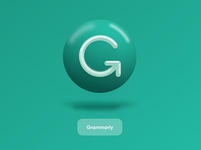 Grammarly 3D icon spelling startup grammarly design saas logo branding 3d