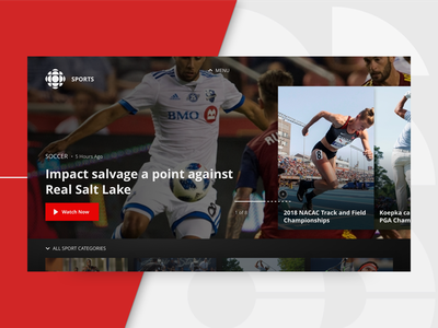 TV App Concept  — CBC Sports Lander red ux design browse lander watch video ui app sports tv app tv