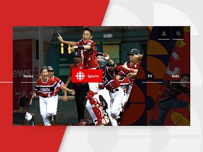TV App Concept — CBC Menu collapse expand shadows diagonal ux kids sports news menu design red ui app tv app tv