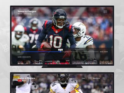TV Sports App Player nfl football sports 10ft video player designs ux ui