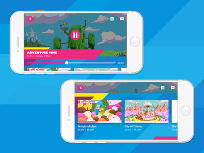 Kids Mobile App Video Player kids ux design shapes player graphic app design ui 10ft video