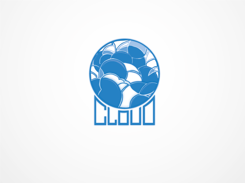 Cloud logo type draw vector