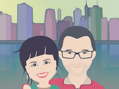Portrait couple city color portrait vector