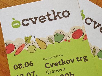 Printed flyers for Eko Cvetko green food identity logo flyer print