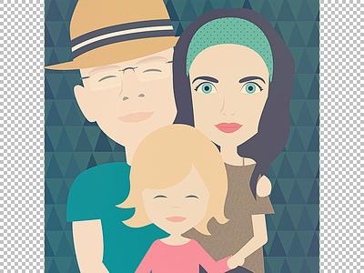 family portrait J&J gift retro portrait character vector