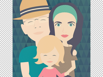 family portrait J&J gift retro portrait character vector
