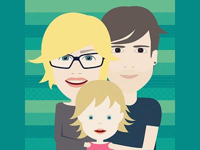 Family portrait J&J family gift portrait character vector