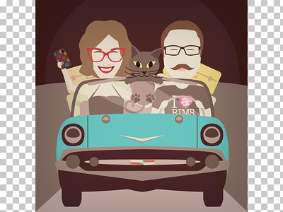 Family portrait Ana & Janez (and the cat) car retro family gift portrait character vector