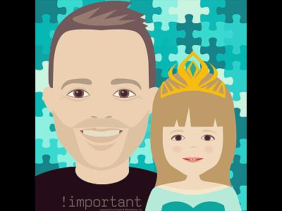 Vibor & Luce family gift portrait character vector