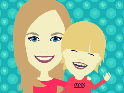 Portrait Tina & Pepe son mother family gift portrait character vector