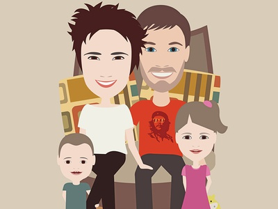 Happy family character family illustration portrait vector
