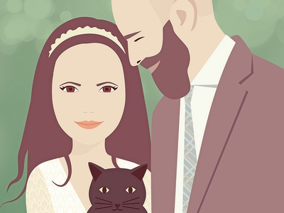 Couple in love love cat couple wedding portrait illustration