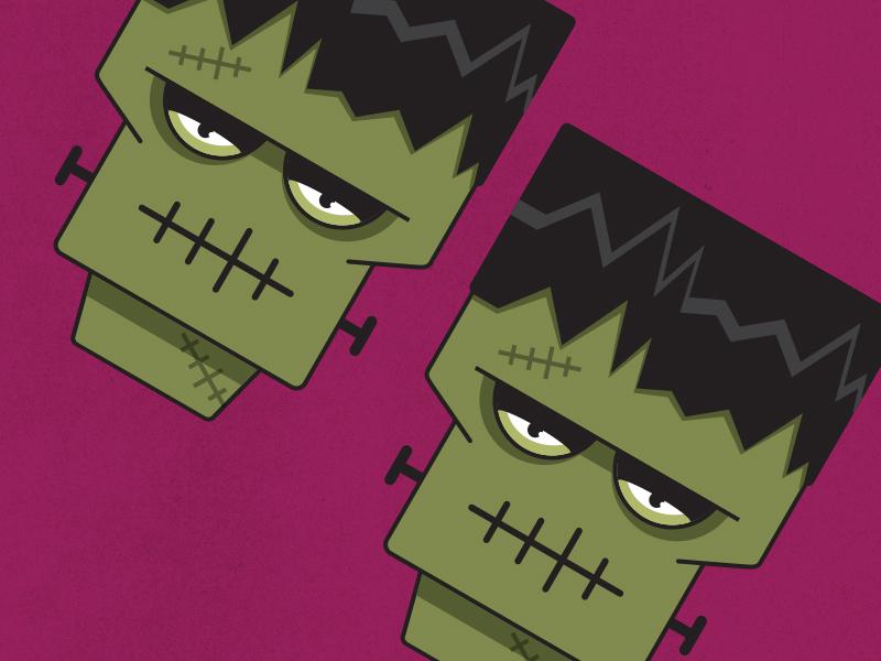 Frankenstein bolt square green stitches icon head illustration halloween monster frankenstein