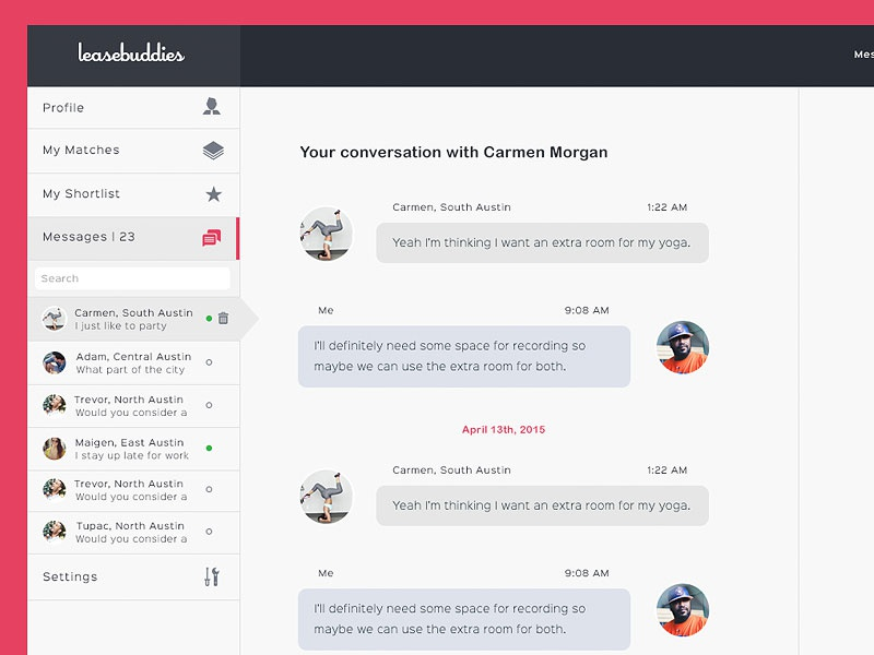 Main Messages Tab // WIP messages conversation ui user interface dashboard