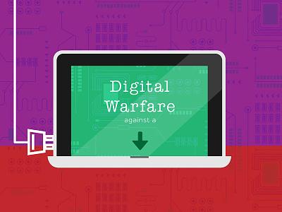 Digital Warfare Infographic illustration branding circuit board infographic