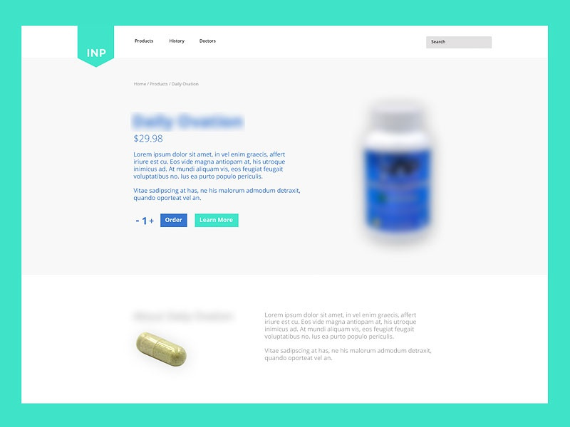 Product Page supplements user interface web page product page