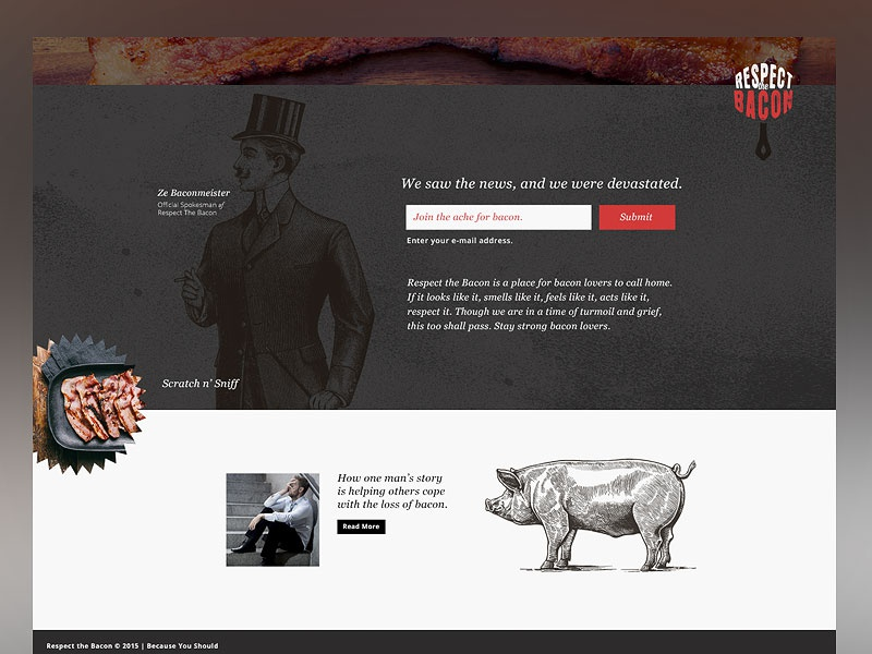 Respect The Bacon user interface bacon landing page identity branding