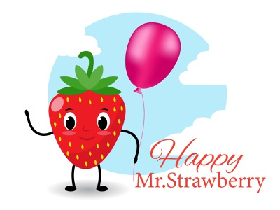 Mr.Strawberry summer fruit background abstract beautiful vector illustration graphic design logo