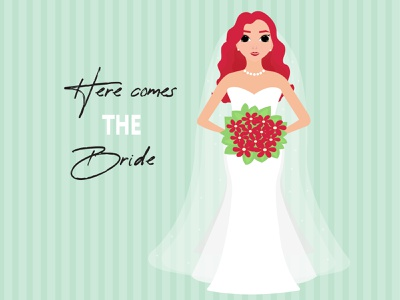 Here comes the bride woman dress logo background abstract beautiful design vector illustration fashon bride