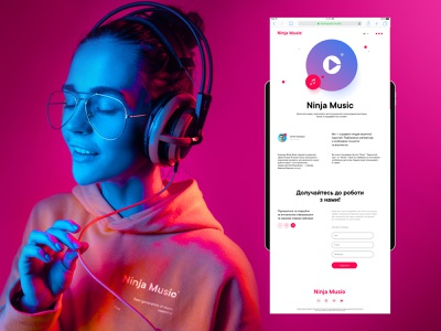 Ninja Music scroll artist lable inputs form headphones records music website page about page adaptation mobile tablet about