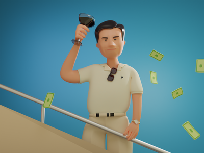 Wolf of Wallstreet character movies illustration 3d art 3d