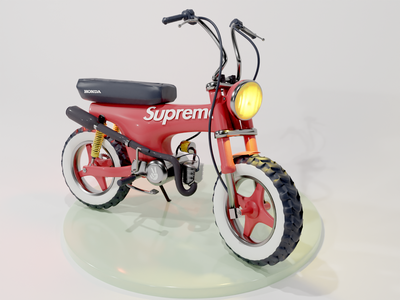The Dax minibike supreme honda render motorcycle illustration modeling 3d