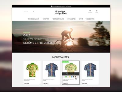 La Boutique du Cycliste home page prestashop e-commerce ui webdesign