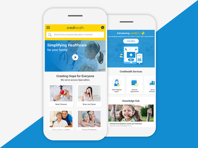 Credihealth Home Page App Screen application web ux ui material design landing page home