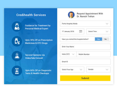 Appointment Form ux web application ui form design appointment page design