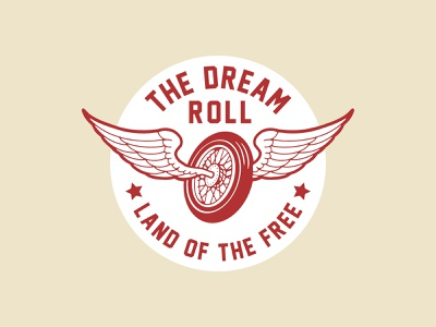 The Dream Roll Wing Badge Logo land embroidered patch embroidery cream gear engine traditional american vintage biker illustration graphic design logo patch emblem badge motorcycle tire wing