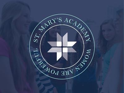 St. Mary's Academy logo - secondary lockup cross brand branding academy eduction girls vector graphic design design typography badge logo