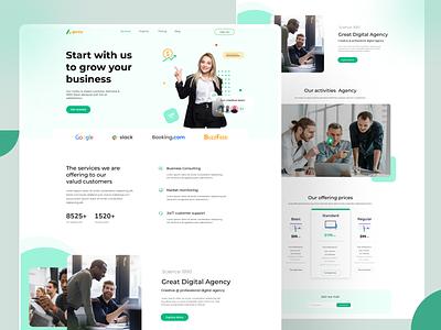 Business agency landing page finance webdesign web uiux ui landingpage uiuxdesign typography illustration ux branding design