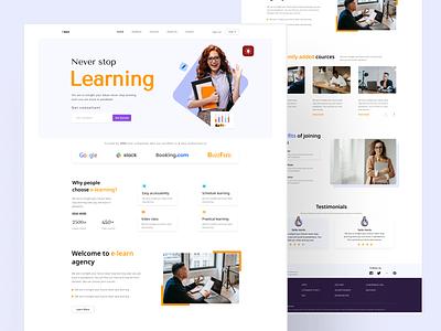 E-learning landing page color trend color branding logo business elearning trend 2021 2021 trend landing page vector website design web design website web uiux design typography ux ui