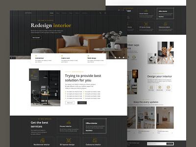 Landing page of interior design website. website landingpage uiux logo icon vector typography design branding ux u ui