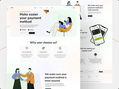 Landing page of e-wallet. minimal web icon uxdesign landingpage uiuxdesign uiux vector typography ux ui design ewallet moneytransferwebdesign webdesign