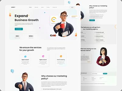 Digital agency landing page. business businessagency webdesign web digitalagency landingpage uiuxdesign illustration uiux typography ux ui design