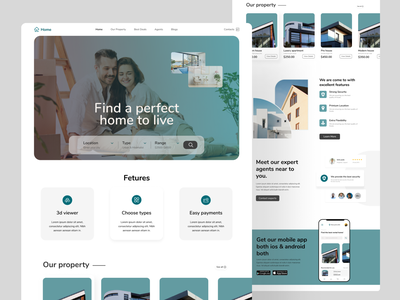 Home rental landing page. product design uxdesign uidesign agency home rent agency branding design typography landingpage uiux ux ui webdesign web