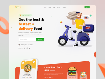 Food delivery landing page. food delivery landing page food landing page ui design ux design food delivery food branding illustration landingpage typography uiux ux ui design webdesign web